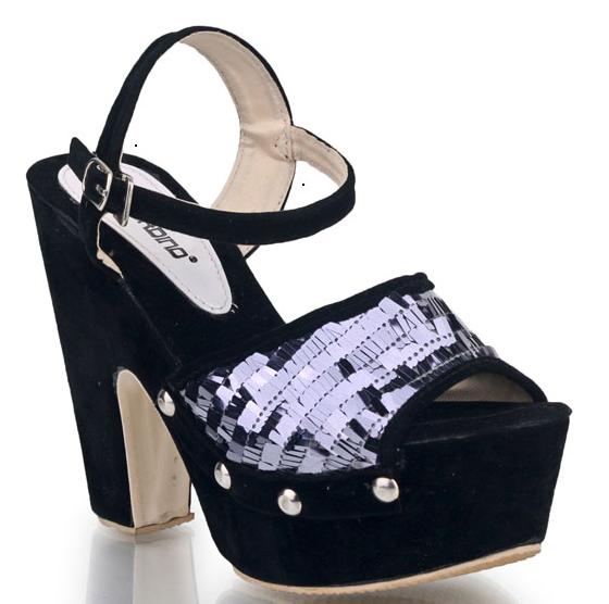 Sepatu: High Heels Hitam Bling-Bling (SDG-480)