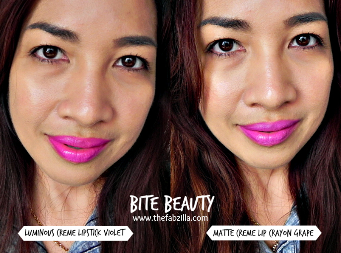 bite beauty luminous creme lipstick violet, bite beauty matte creme lip crayon grape, review,swatch, bite beauty