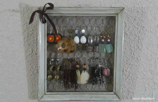www.annecharriere.com, organizar pendientes, alambre gallinero, marco vacio,