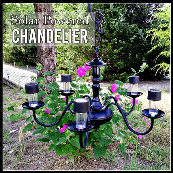 Solar Powered Chandelier, Not Just Paper and Glue, Outdoor Lighting, Chandelier, Upcycle, Solar Lighting, DIY