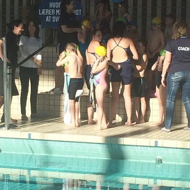 """HRH The Crown Princess, as patron of the Danish Swimming Union, attends in the launch event for the project """"Everyone should learn to swim."""" Kildeskovshallen, Adolphsvej 25, Gentofte."""