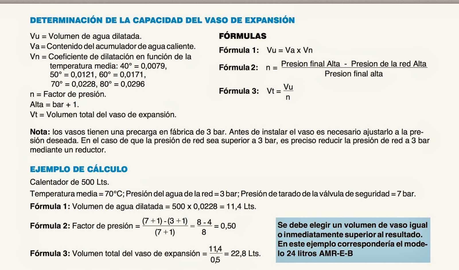 Calculo vaso expansion solar