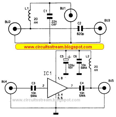 build a wideband antenna preamplifier circuit diagram