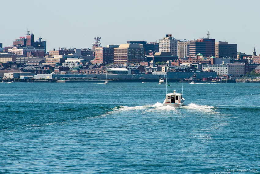 Portland, Maine USA September 2015 summer skyline from Casco Bay. Photo by Corey Templeton.