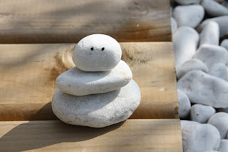 Simple stacked rock snowman