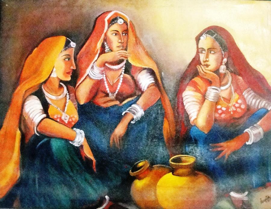 Modern Rajasthani Lady Painting