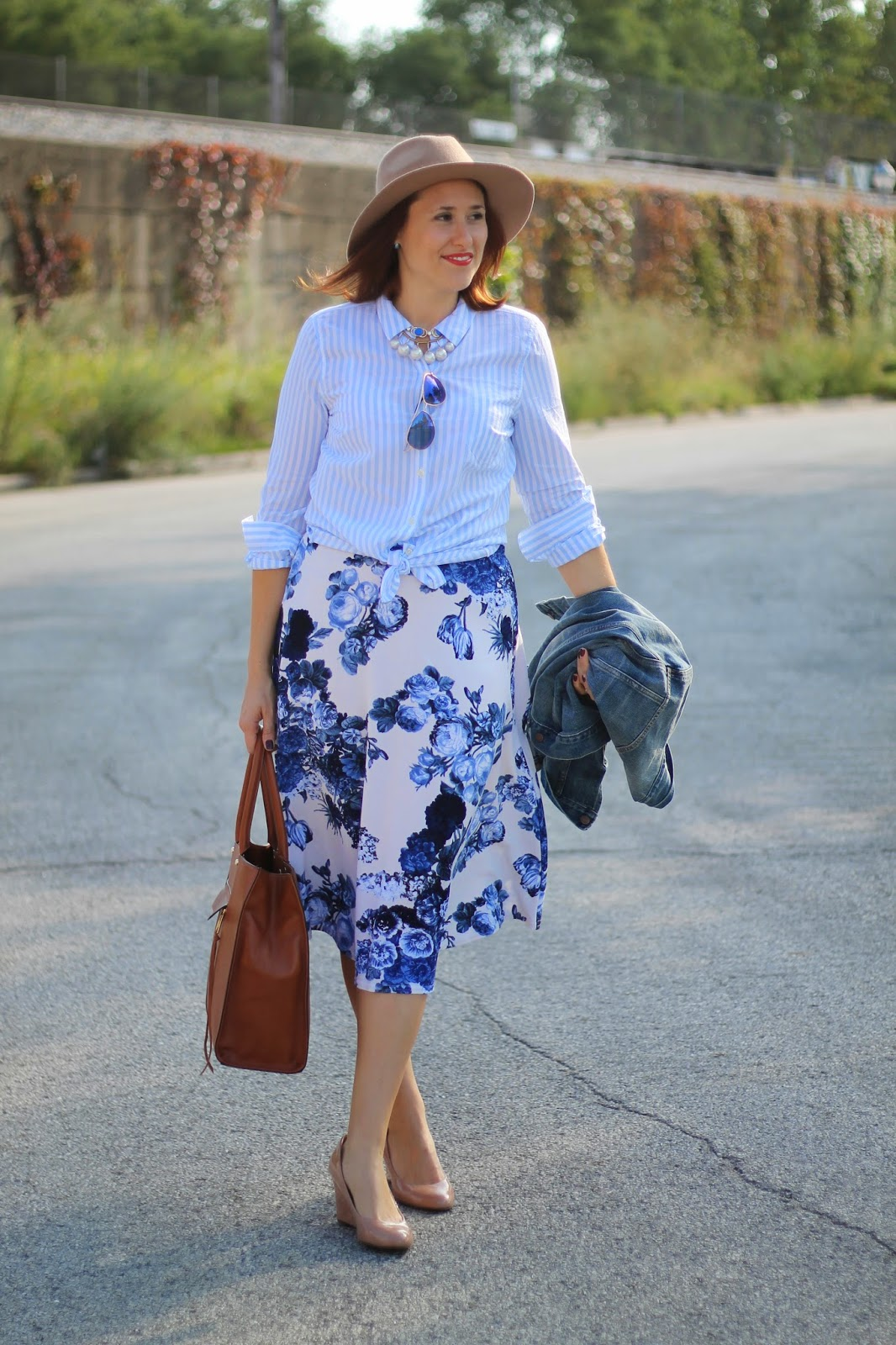 floral, midi, skirt