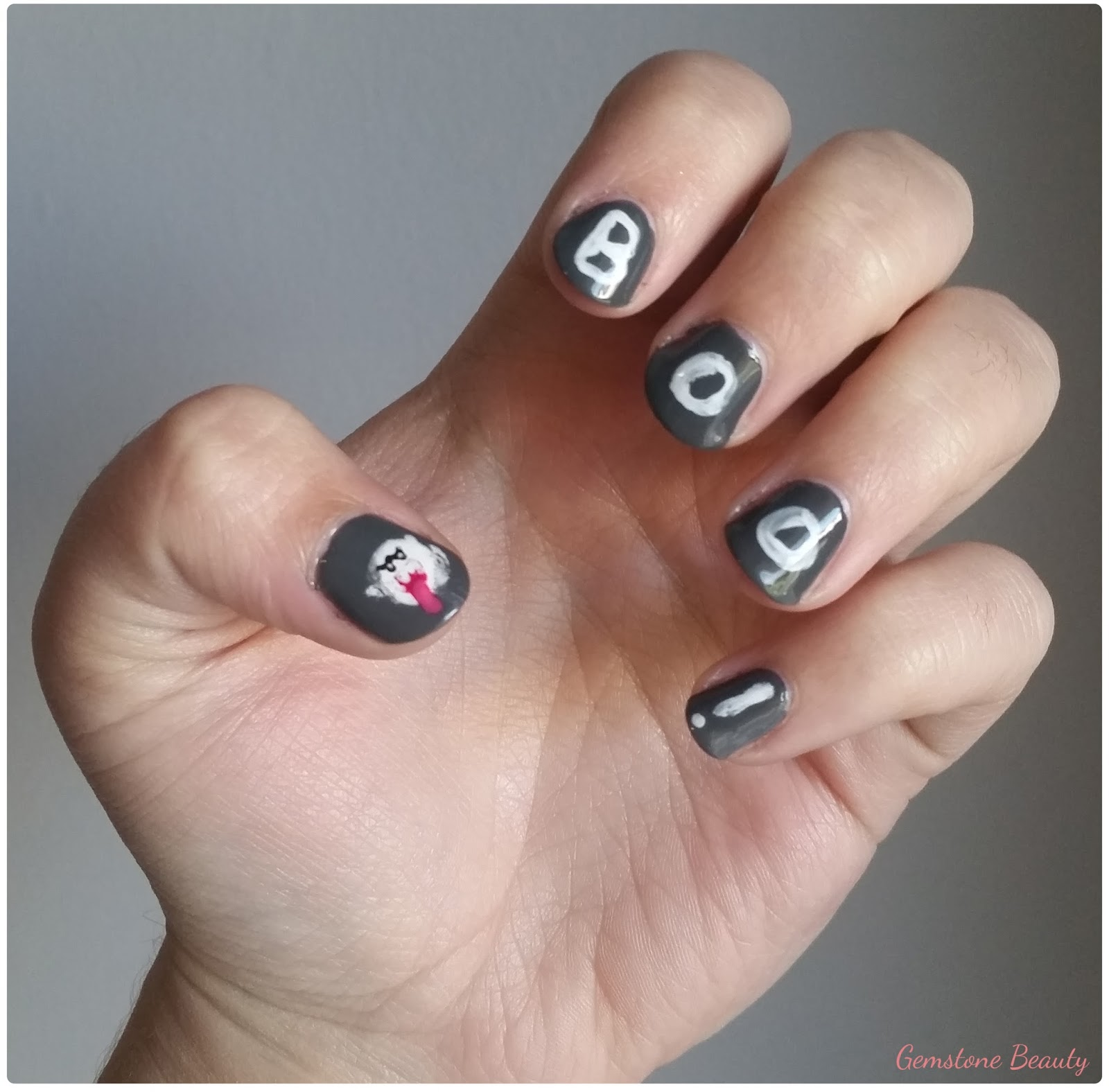 October Nail Art: Gemstone Beauty: October Nail Art Challenge Day 2: Ghosts