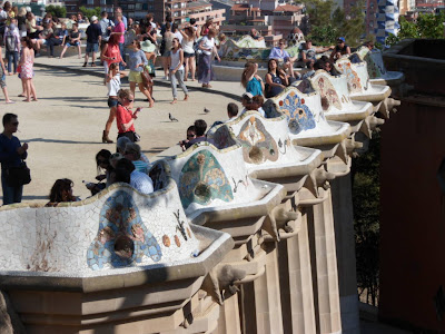 Gaudi's Park Guell in Barcelona - beautiful tiled bench