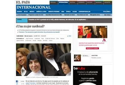 O Papa vai criar cardeal a uma mulher? O jornal espanhol El País inventou uma história sem fontes, denuncia um blogueiro