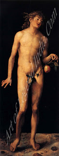 Adam (1507), One of the first life-size nudes in the history of German painting, this work was painted after Durer's second visit to Italy. The continuous contours of the body and the soft modeling of the flesh replace the earlier sharply defined, muscular figures in The Fall of Man.