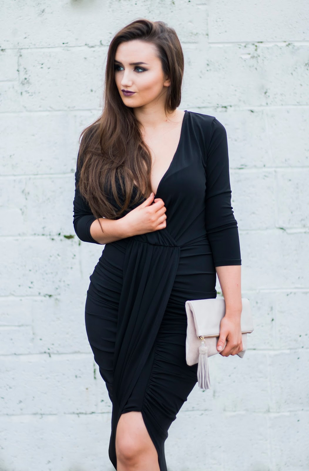 Black Ruched Drape Dress