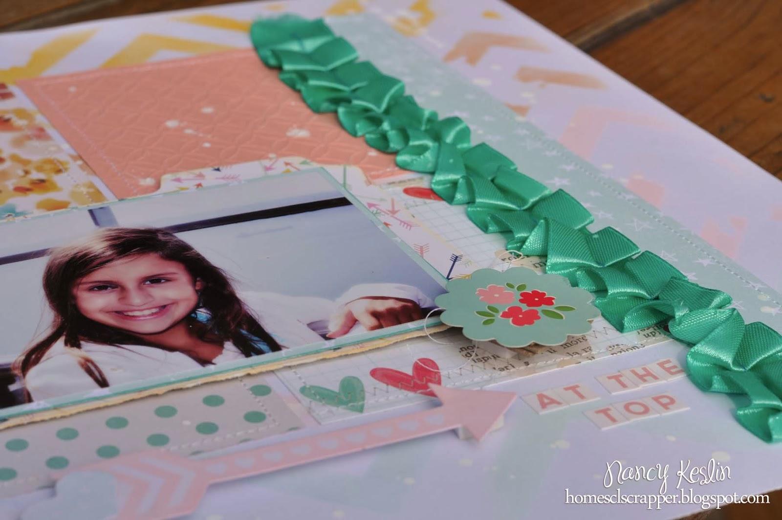 kit club, ribbon, pan pastel, scrapbook, 12x12