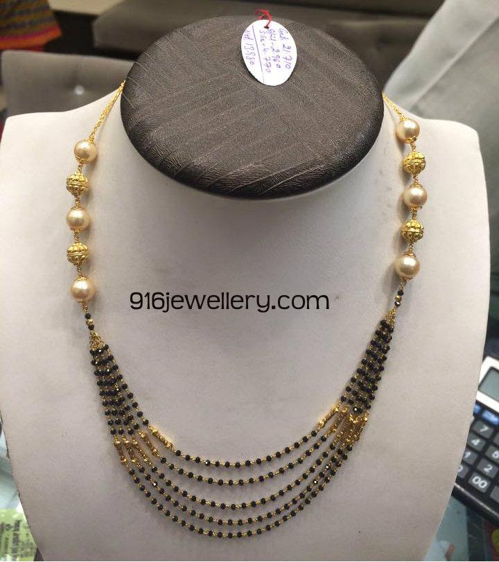 black spinel beads chain designs latest 2015 | SUDHAKAR GOLD WORKS