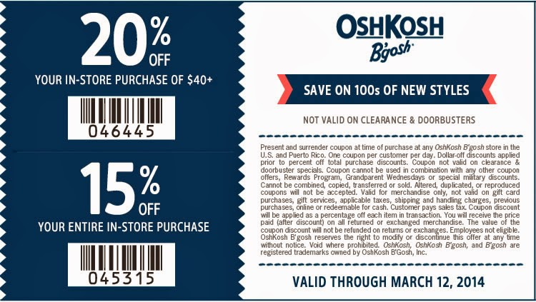 OshKosh B'gosh Printable Coupon