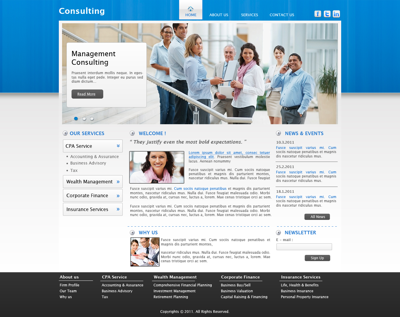 Designpivot consulting firm web page design for Consulting website