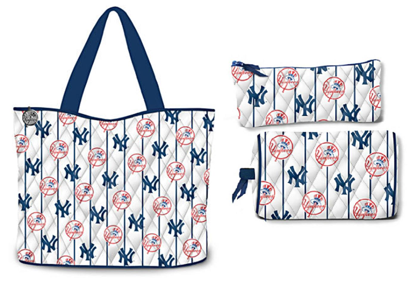 New York Yankees MLB Tote Bag With Cosmetic Cases