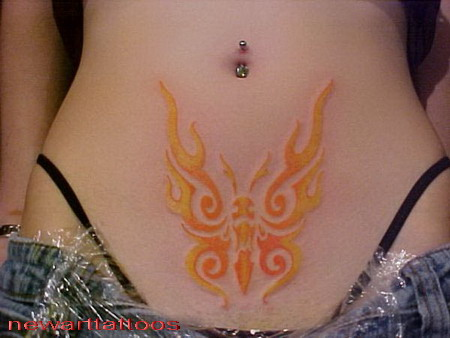 Butterfly tribal tattoos new art tattoos - Tatouage femme ventre ...