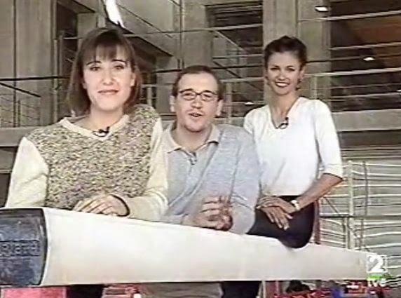 Carlos Beltrán, Sandra Daviu y Estela Giménez, en el programa de TVE Escuela del deporte