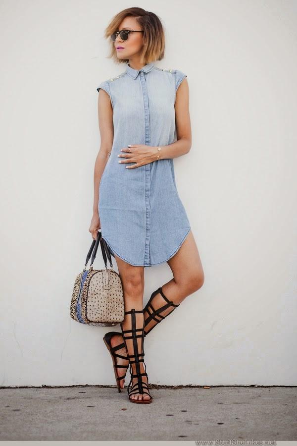 moda feminina, roupas e calçados femininos, dress, vestido camisa, sandália f