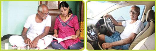 Venkatapathi Reddiar with her daughter, Venkatapathi Reddiar driving car
