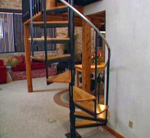 wood spiral stairs installation