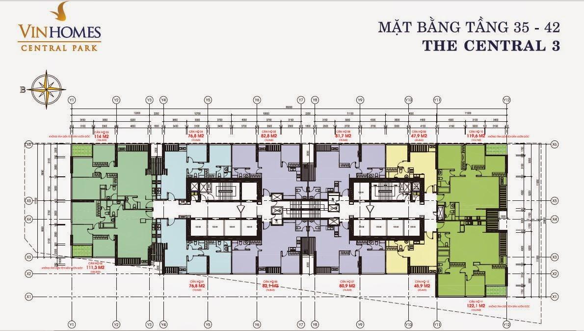 Căn hộ Vinhomes Central Park 3 - mặt bằng tầng 35 - 42