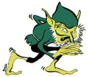 """Logo inicial de Gremlin Graphics que muestra un dibujo de un """"duende"""" verde"""