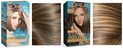 Oreal Touch-On Highlights in Creamy Caramel and Toasted Almond.