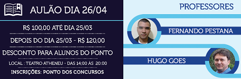 Dia 26/04 (domingo) em Aracaju. Para mais informações, clique no banner!