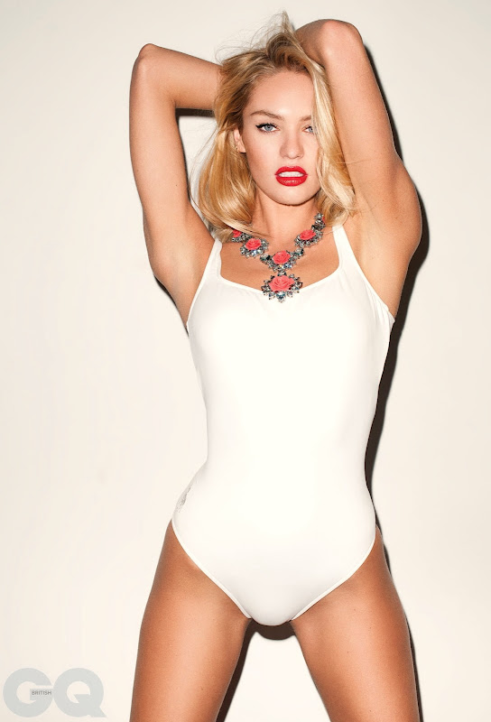 Candice Swanepoel  looks better than ever wearing a white swimsuit in a photoshoot for GQ magazine UK issue 2012