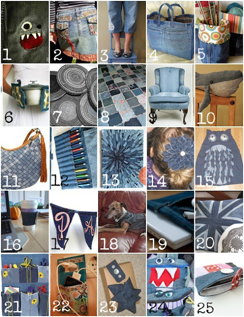 Five go blogging 25 recycling projects for old jeans for Denim craft projects
