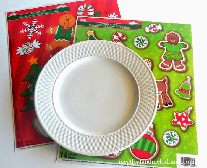 white plate and christmas window clings from dollar tree