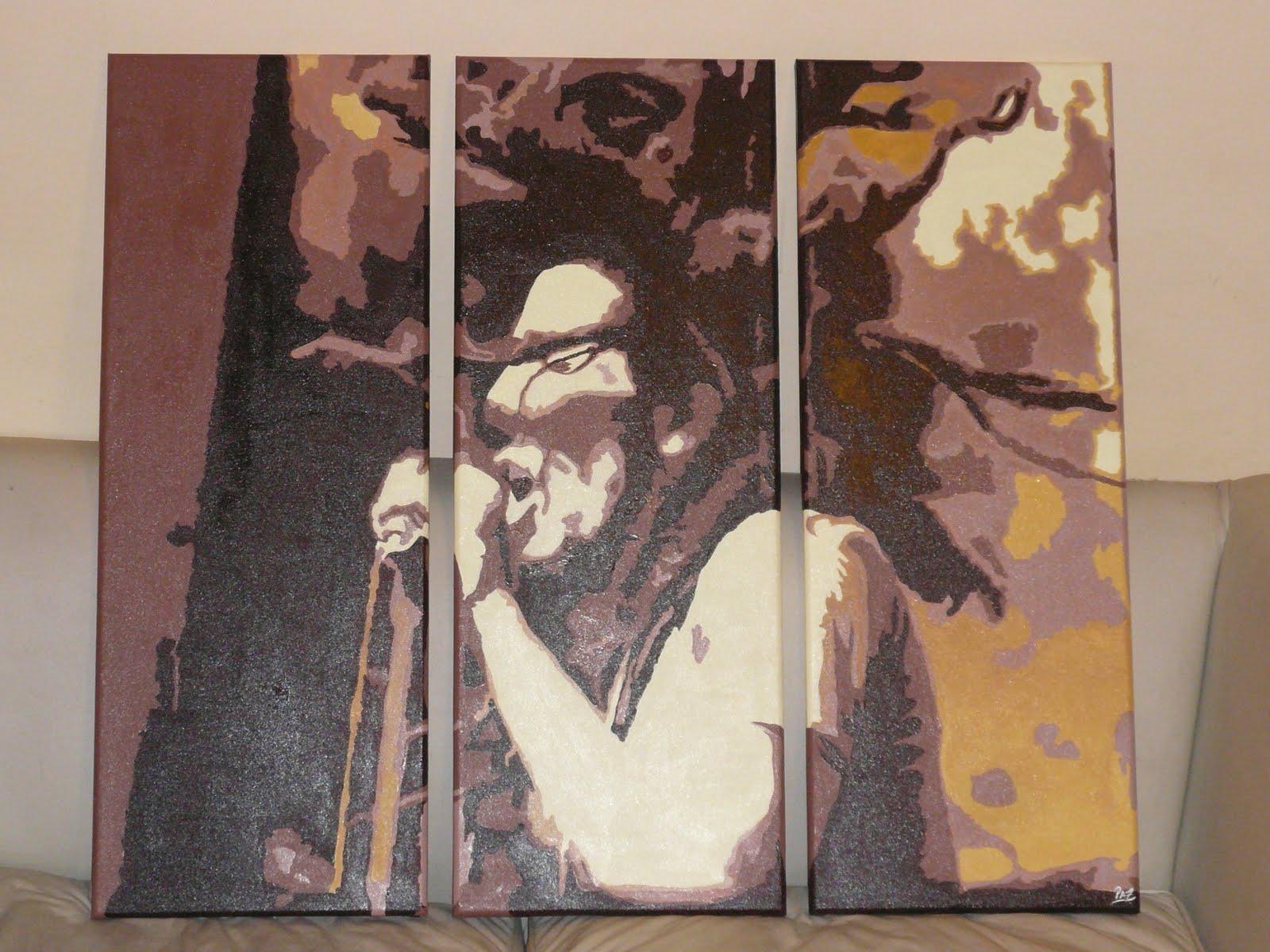 Bob marley doble carga cuadros acrilico pintados a mano - Cuadros bob marley ...