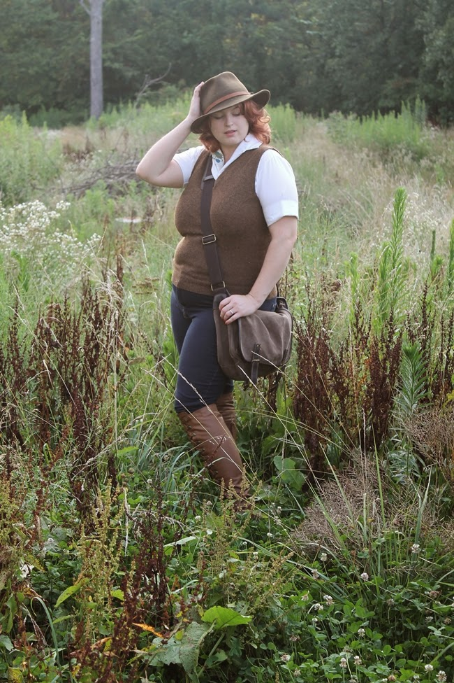 plus-size classic Indiana Jones style for women in rugged vintage and knee-high boots via Va-Voom Vintage