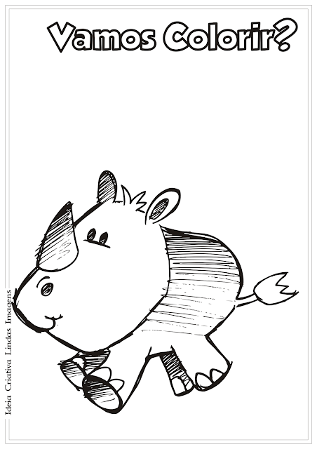 Rinoceronte desenho para colorir
