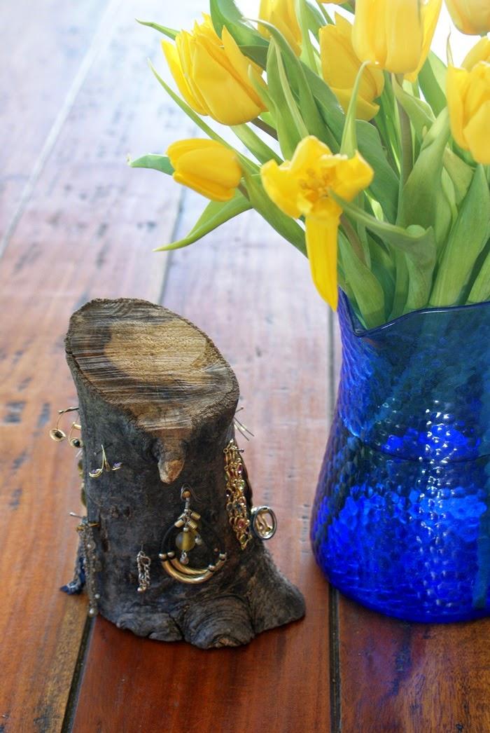 jewelry holder log diy home fashion