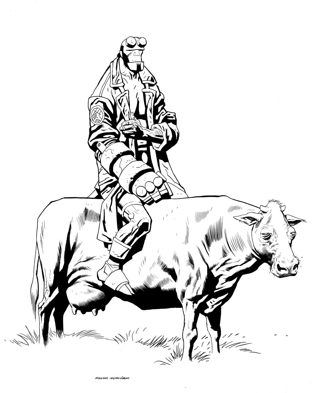 Coloring Pages Hellboy Coloring Pages kevin nowlan hellboy and a cow inks inks