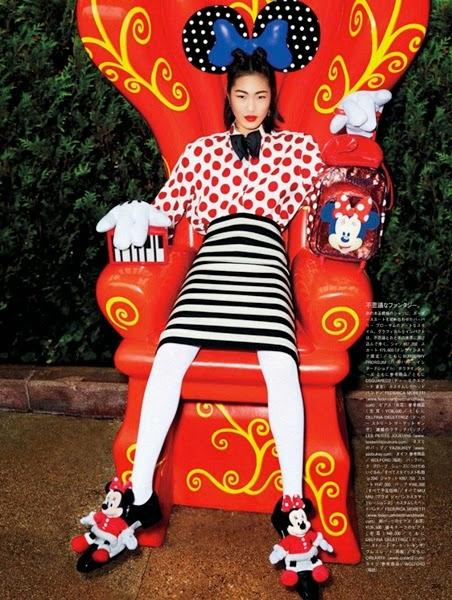 Burberry Prorsum 2014 SS Editorial:  Red Polka Dots Linen Shirt