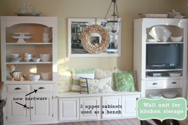 Repurposed wall unit used for kitchen storage and dining nook-www.goldenboysandme.com