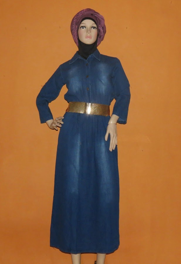 Baju Gamis Jeans Model simple GJ1078