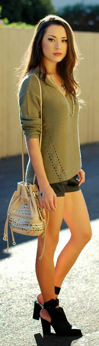 Dark Olive Green Color Sweater With Black Leather Short