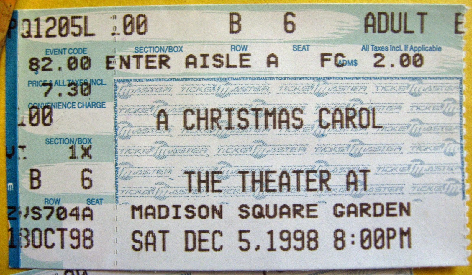 My ticket stub to see Roger Daltrey as Scrooge Dec 5, 1998 at MSG