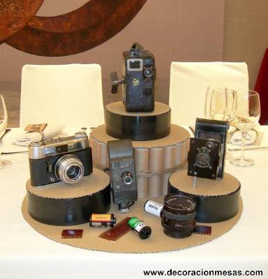 decoracion mesa centro mesa camaras fotografia
