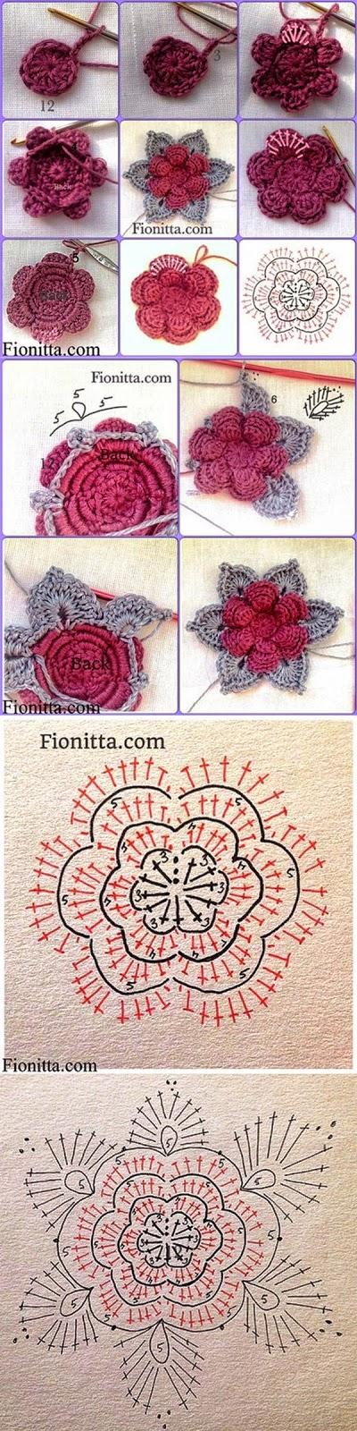 diagrama y patrones de flor tejida con ganchillo