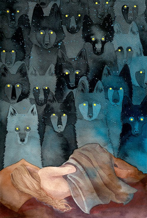 a pack of wolves observing a sleeping beauty with glowing eyes