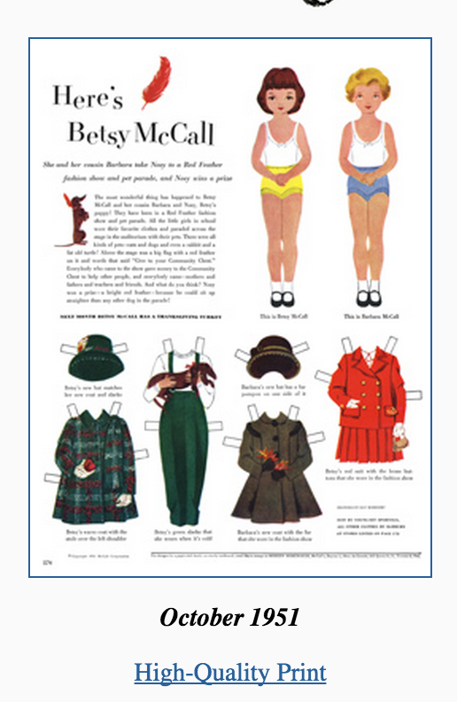 image Canadian Freebies Olden Days coat free paper doll printables Betsy and Barbara McCall with an old fashioned coat