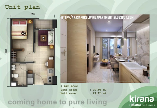 Tipe 1 BR Akasa Pure Living BSD Apartment Tower Kirana
