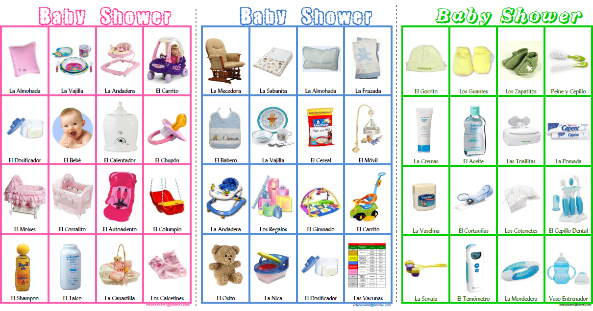 Loteria para baby shower para imprimir gratis - Imagui