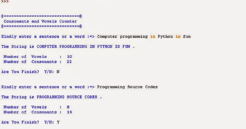 Free Programming Source Codes To All Consonants And